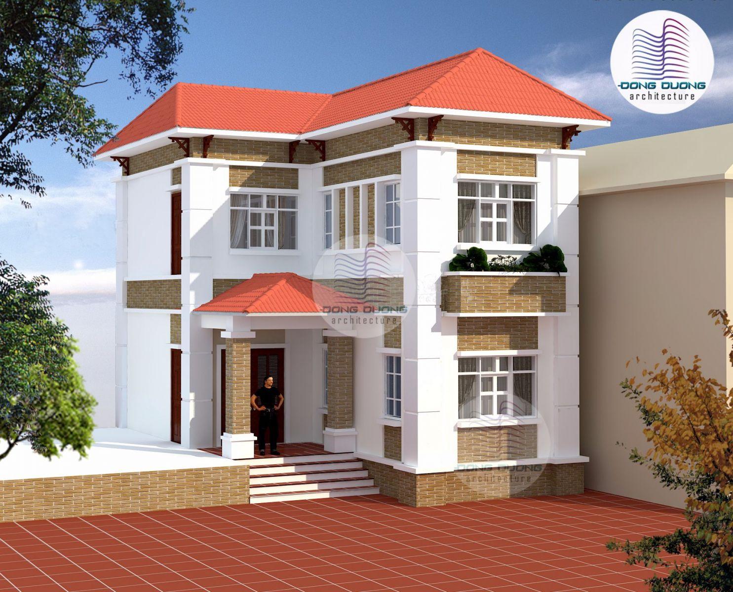 Mẫu thiết kế nhà vườn hiện đại  chữ L 2 tầng đẹp tại Hà Nam - BT1401