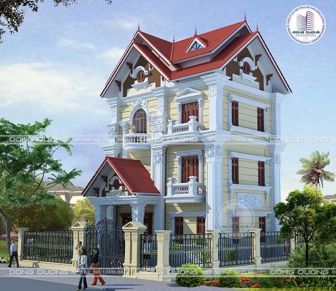 Biệt thự phong cách tân cổ điển 3 tầng kiểu Pháp tại Bắc Ninh - BT1615