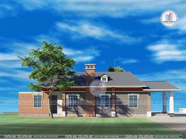 Mẫu thiết kế nhà vườn cấp 4 đẹp ở nông thôn 3 phòng ngủ xây 500 triệu-BT1838