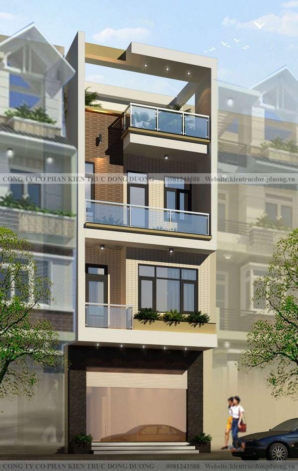 Nhà phố 4 tầng mặt tiền 5,5m phong cách hiện đại - NP1847
