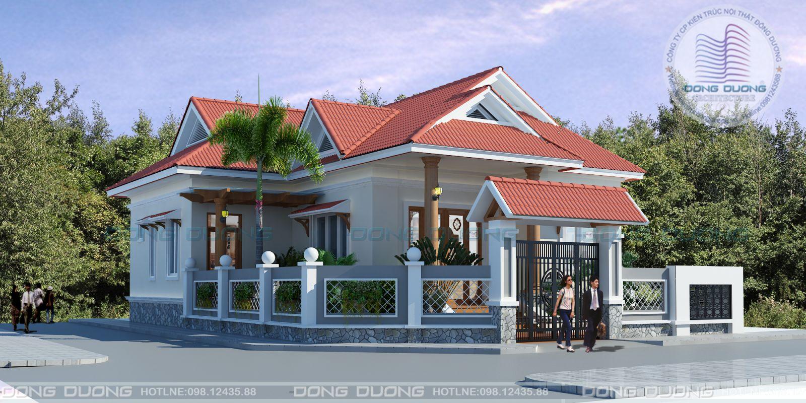 Mẫu thiết kế nhà vườn cấp 4 nông thôn đẹp 3 phòng ngủ tại Kon Tum-NV1402