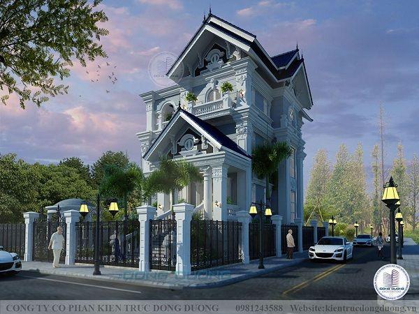 Mẫu nhà biệt thự mini phong cách tân cổ điển 3 tầng mái thái đẹp-BT2012