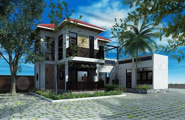 Mẫu thiết kế biệt thự nhà vườn 2 tầng hiện đại đẹp trên đất 400m2-BT2013