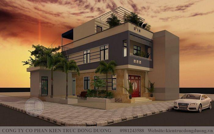 Mẫu thiết kế nhà phố 2 tầng 1 tum hiện đại đẹp đơn giản mặt tiền 5m - NP2010