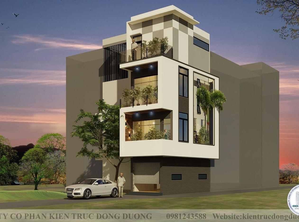 Thiết kế nhà lô góc 2 mặt tiền 4 tầng phong cách hiện đại - NP2011