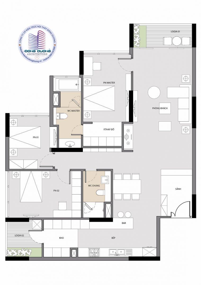 Cải tạo nội thất thành căn hộ cao cấp sang trong - NT1718